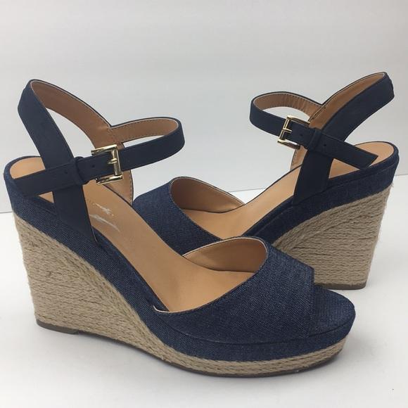 55bd7347 Tommy Hilfiger Kali Denim Blue Open Toe Wedges 9.5.  M_5cad05058d653da0b5624f09